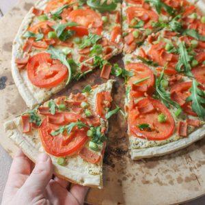 Vegan Everything Bagel Pizza Cream Cheese Arugula Tomato Crust 6