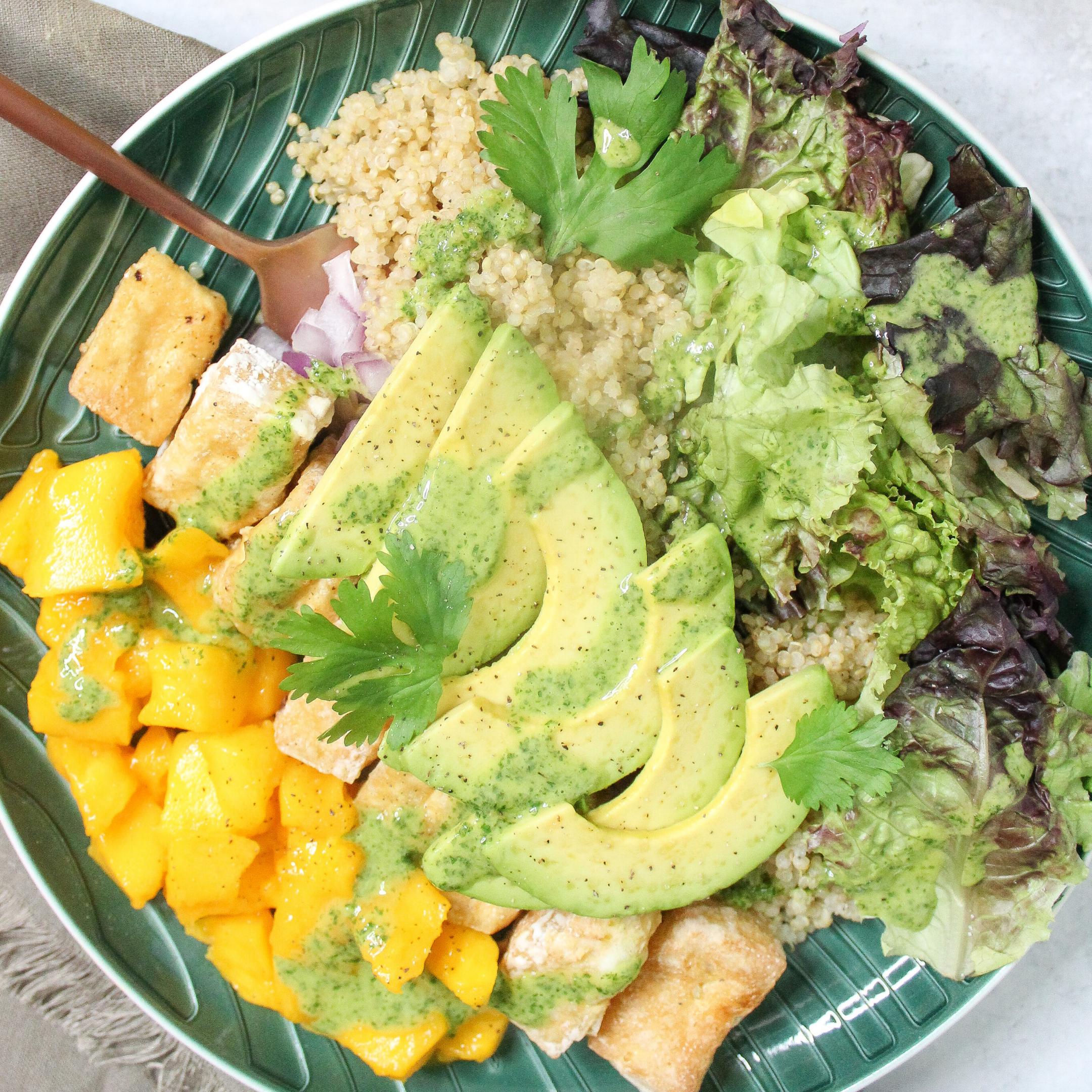 Mango Tofu Salad Vegan Quinoa Avocado Pineapple Cilantro Dressing Meal Prep Featured Image